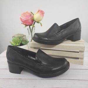 Bass & Co Black Leather Loafer Mules